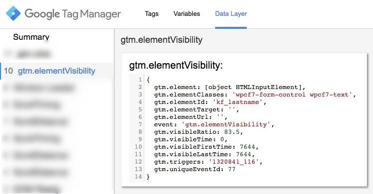 Data Layer Sichtbarkeit