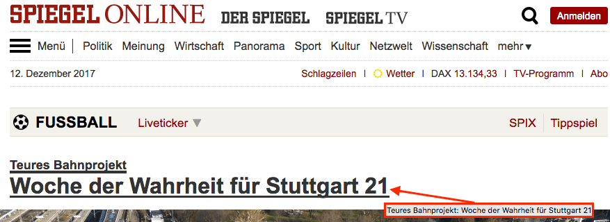 Title Tag Attribut - Beispiel