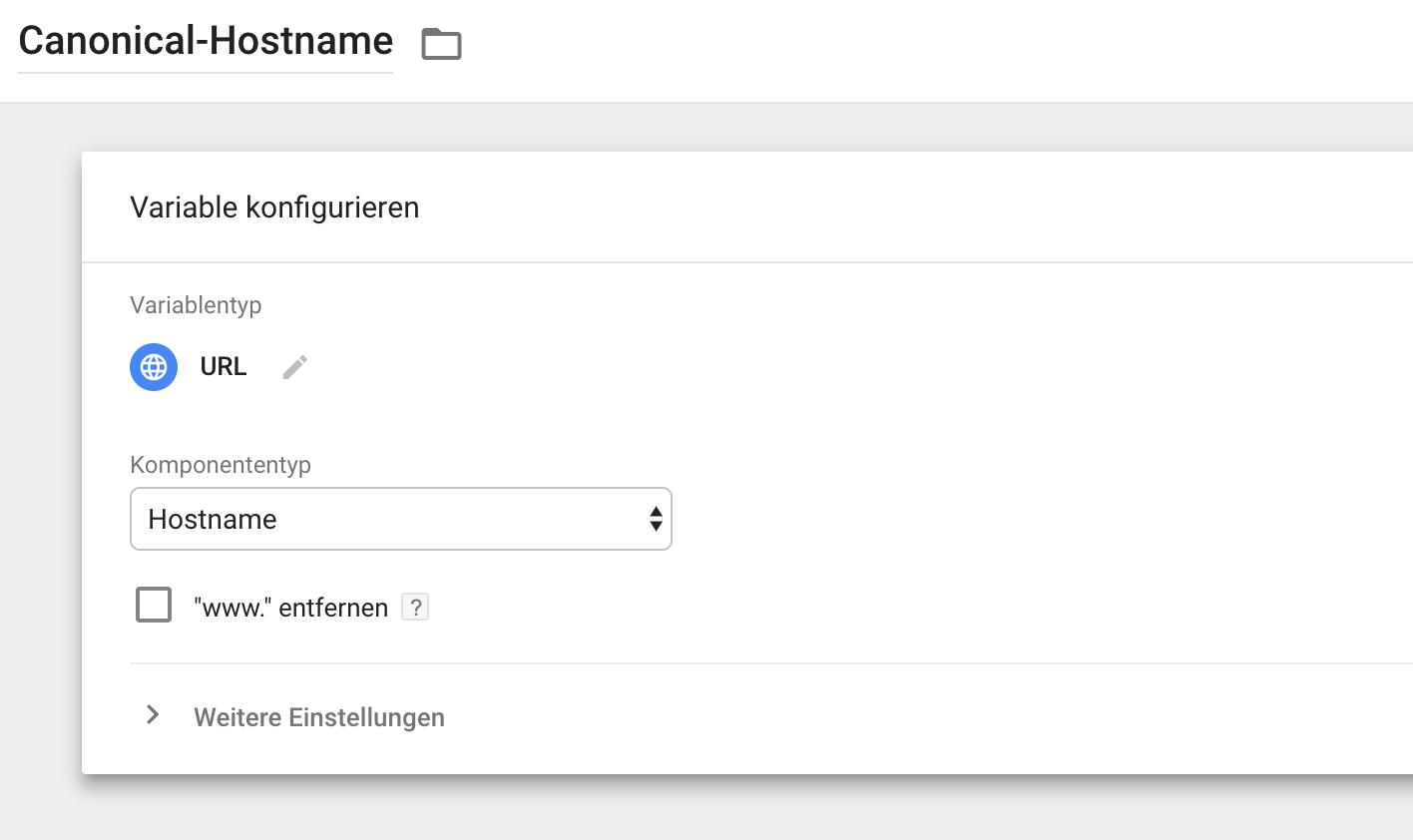 Erstellung eines Canonical-Hostname